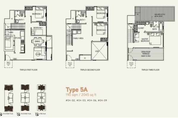 Hilbre 28 Triplex floor plans