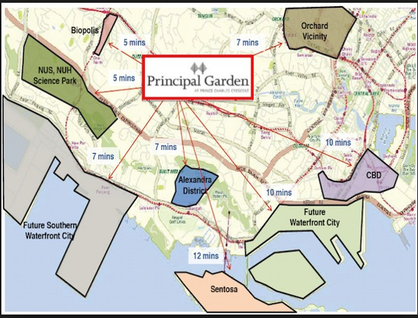 principal garden amenities map