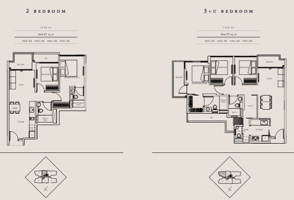 straits Mansions 2 and 3 br floor plans