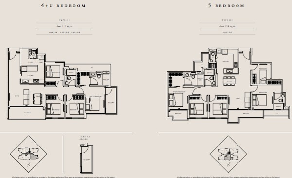 straits Mansions 4 and 5 br floor plans