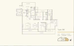 Floor Plan 3 bedroom Three Balmoral